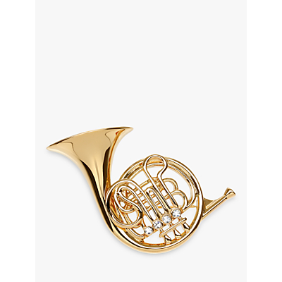 Eclectica Vintage 1980s Gold Plated Swarovski Crystal French Horn Brooch, Gold