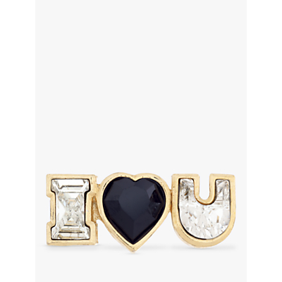 Eclectica Vintage 22ct Gold Plated Swarovski Crystal Limited Edition I Love You Brooch, Gold/Multi