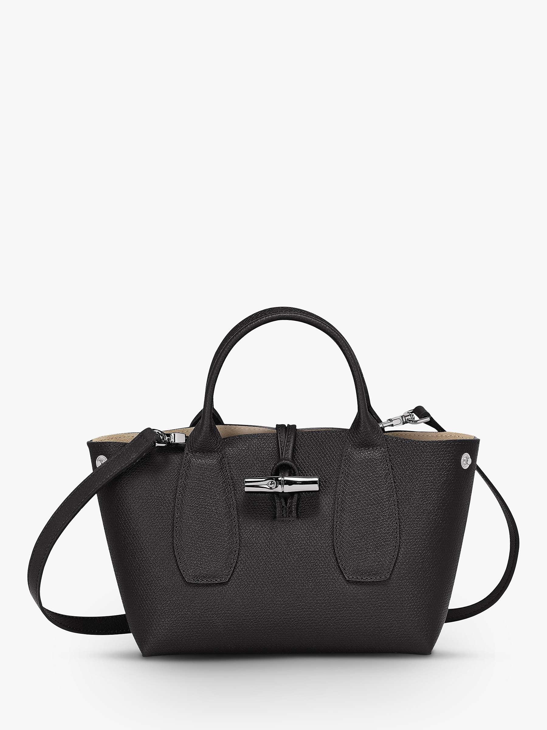 Longchamp Roseau Small Leather Top Handle Bag, Black