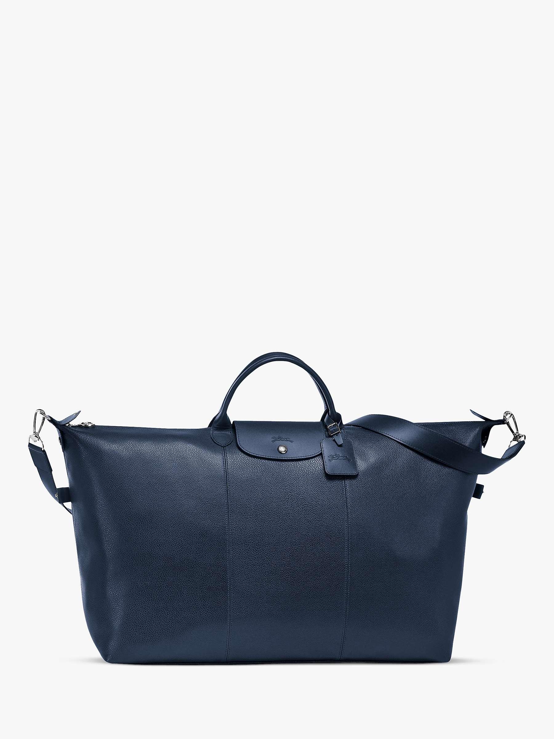 Longchamp Le Foulonné Leather Travel Bag, Navy