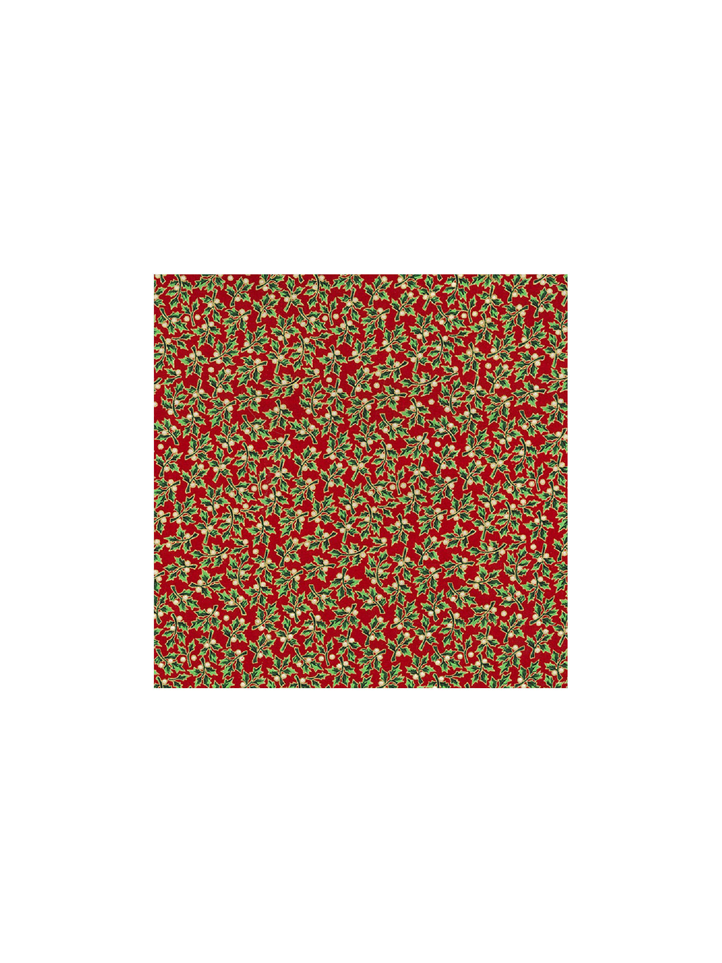 Buy Oddies Textiles Holly Print Fabric, Red Online at johnlewis.com