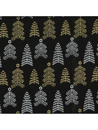 Oddies Textiles Gold Christmas Trees Print Fabric