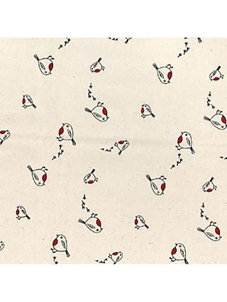 Oddies Textiles Scandinavian Robin Print Fabric, Cream