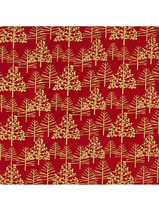 Oddies Textiles Gold Trees Print Fabric, Red