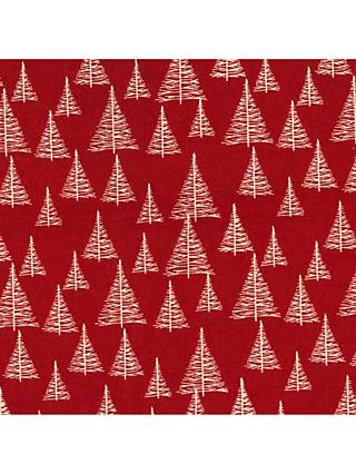 Oddies Textiles Sketchy Trees Print Fabric, Red