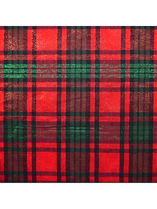 Oddies Glitter Tartan Fabric, Red