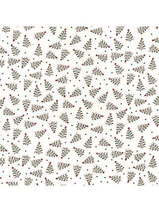 Oddies Textiles Zig Zag Trees Print Fabric, White