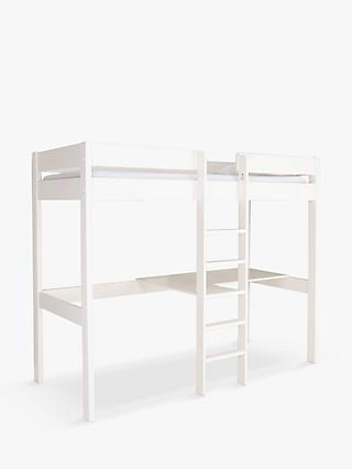Stompa Compact High-Sleeper Bed Frame with Desk and Shelving, Single, White