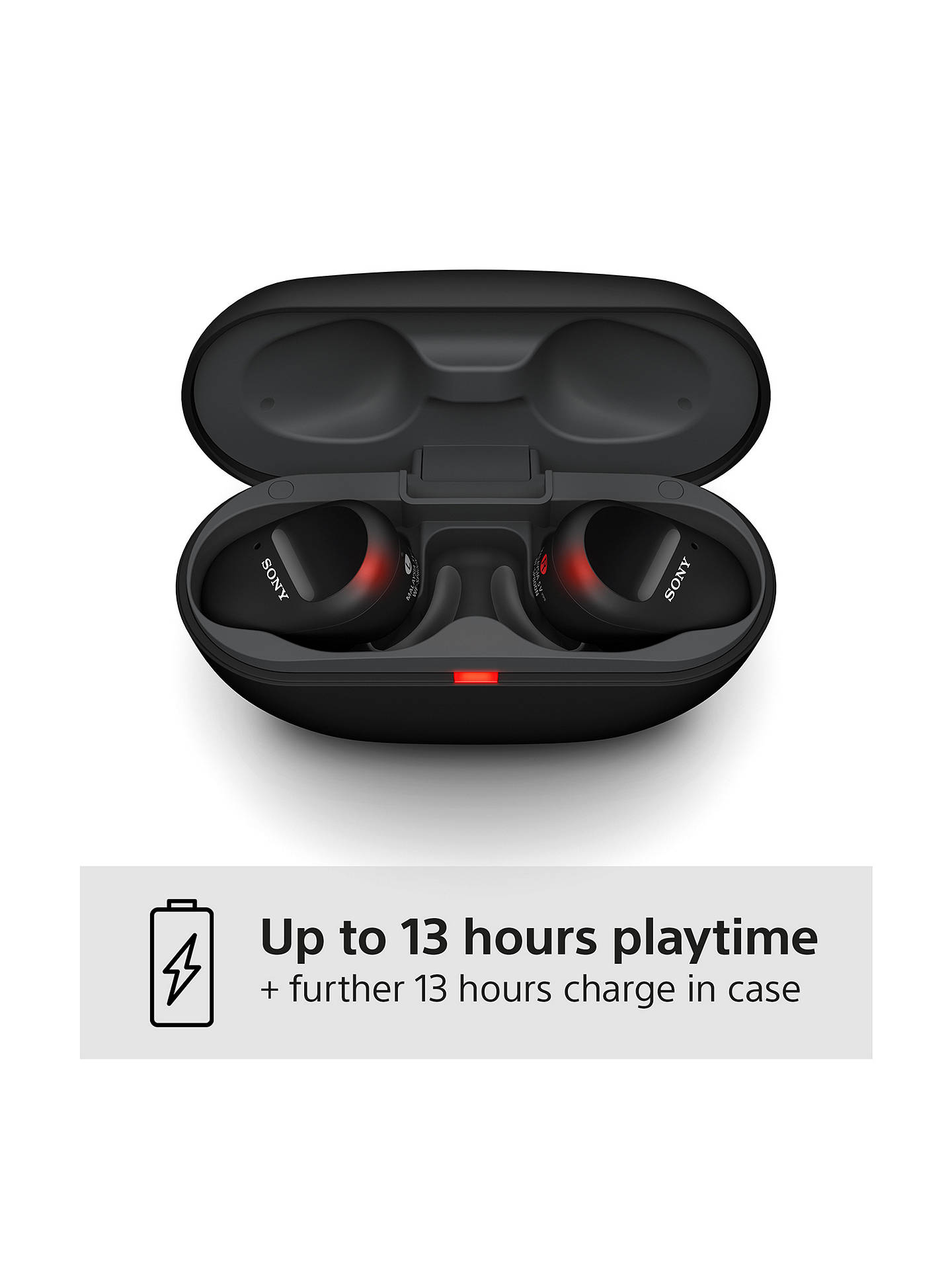 Buy Sony WF-SP800N Noise Cancelling True Wireless Bluetooth Splash Resistant Sports In-Ear Headphones with Mic/Remote, Black Online at johnlewis.com