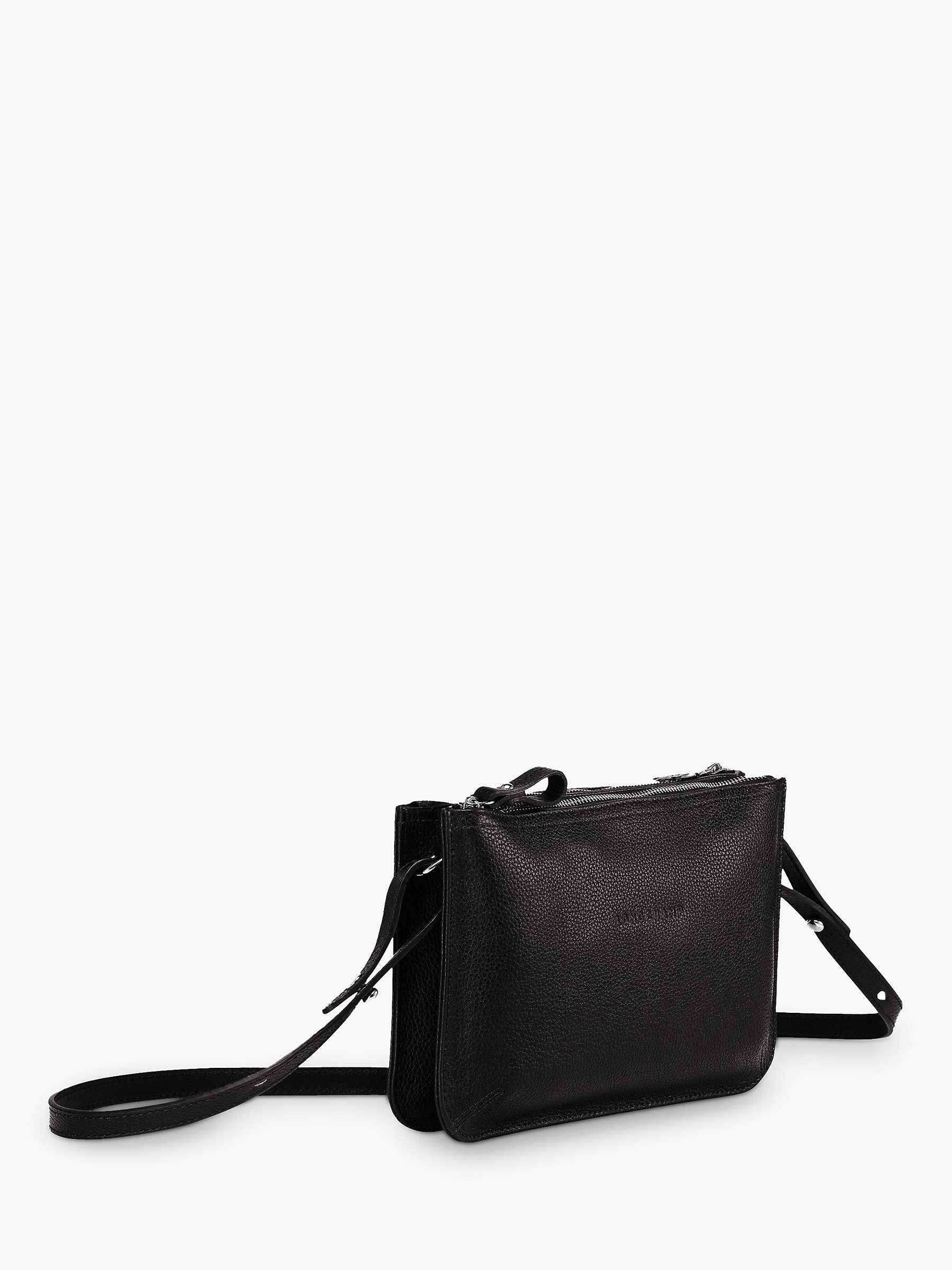 Longchamp Le Foulonné Dual Compartment Leather Cross Body Bag, Black