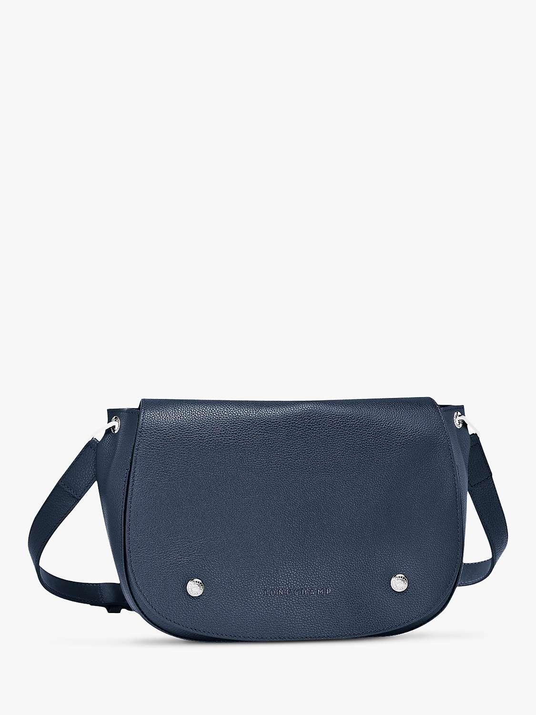 Longchamp Le Foulonné Leather Saddle Cross Body Bag, Navy