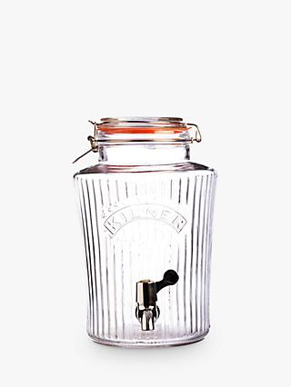 Kilner Ribbed Glass Barrel Vintage Drinks Dispenser with Tap, 5L