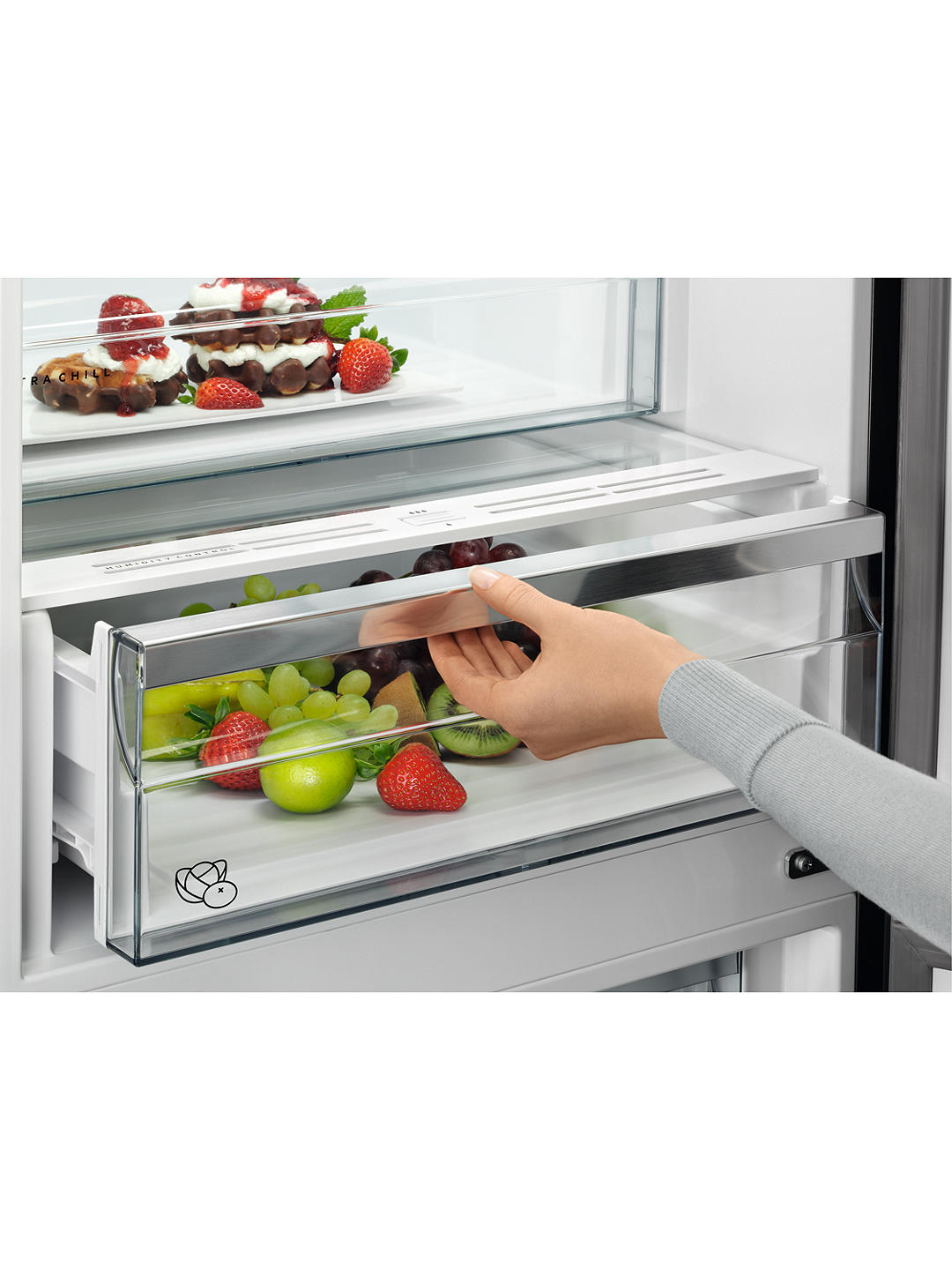 Buy AEG 7000 RCB732E4MG Freestanding 60/40 Fridge Freezer, A++ Energy Rating, 59.5cm Wide, Matt Black Glass Online at johnlewis.com
