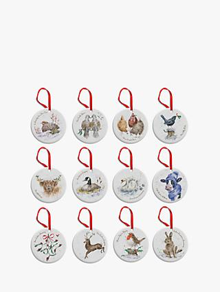 Wrendale Designs 12 Days Of Christmas Tree Baubles, Set of 12, Assorted