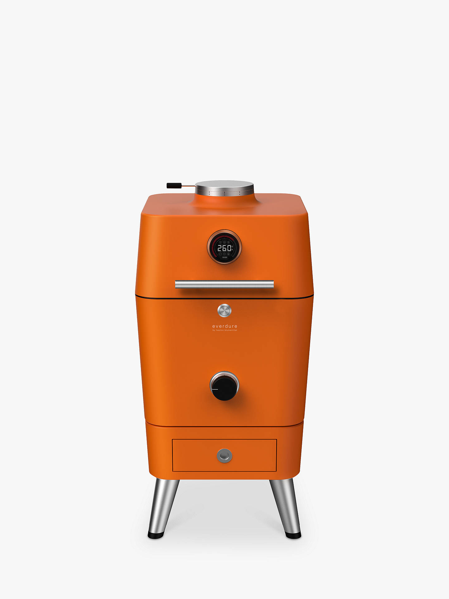 Buy Everdure By Heston Blumenthal 4K Outdoor Electric Ignition Charcoal BBQ Cooker, Orange Online at johnlewis.com