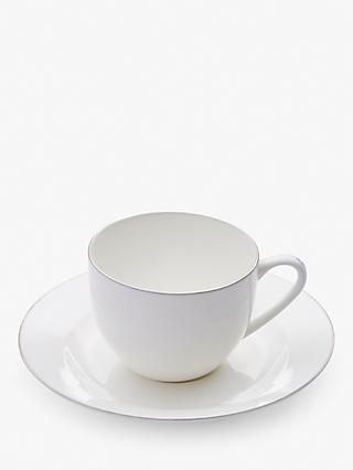 Royal Worcester Serendipity Platinum Bone China Cup & Saucer, 220ml, White