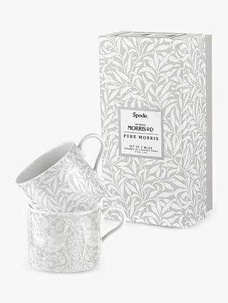 Morris & Co. Spode Pure Morris Strawberry Thief & Willow Bough Mugs, Set of 2, 340ml, Grey