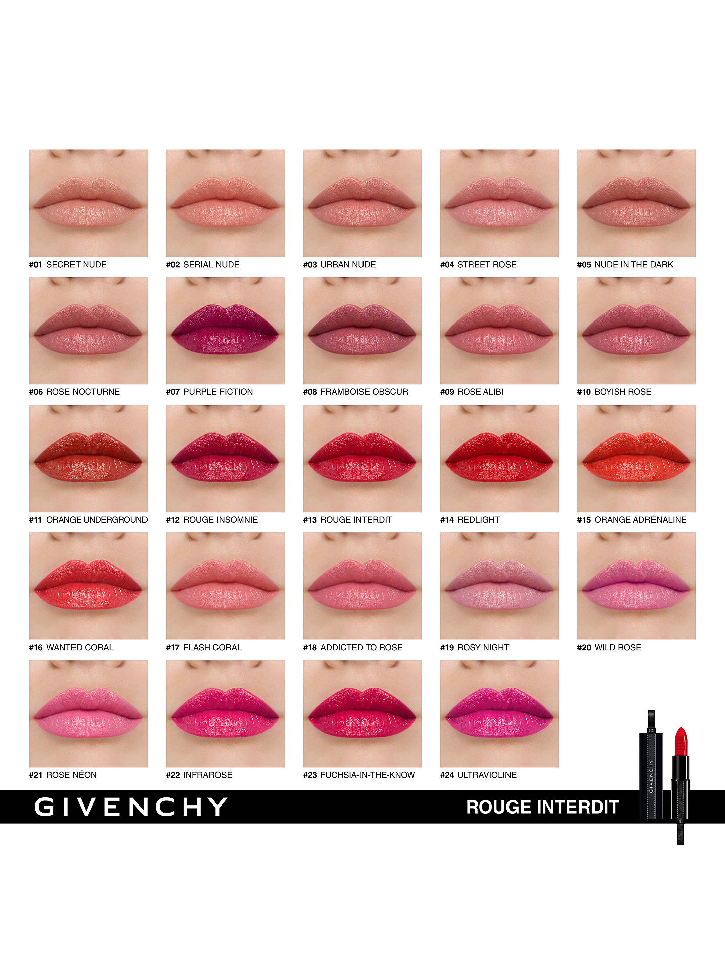Givenchy Rouge Interdit Satin Lipstick Comfort & Hold at John Lewis &  Partners
