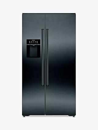 Siemens iQ700 KA92DHXFP American-Style Freestanding 70/30 Fridge Freezer, 97cm Wide, Black