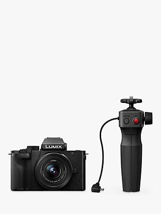 "Panasonic Lumix DC-G100 Compact System Camera with 12-32mm IS Lens, 4K Ultra HD, 20.3MP, Wi-Fi, Bluetooth, Live Viewfinder, 3"" Vari-Angle Touch Screen, Black & DMW-SHGR1 Tripod Grip"
