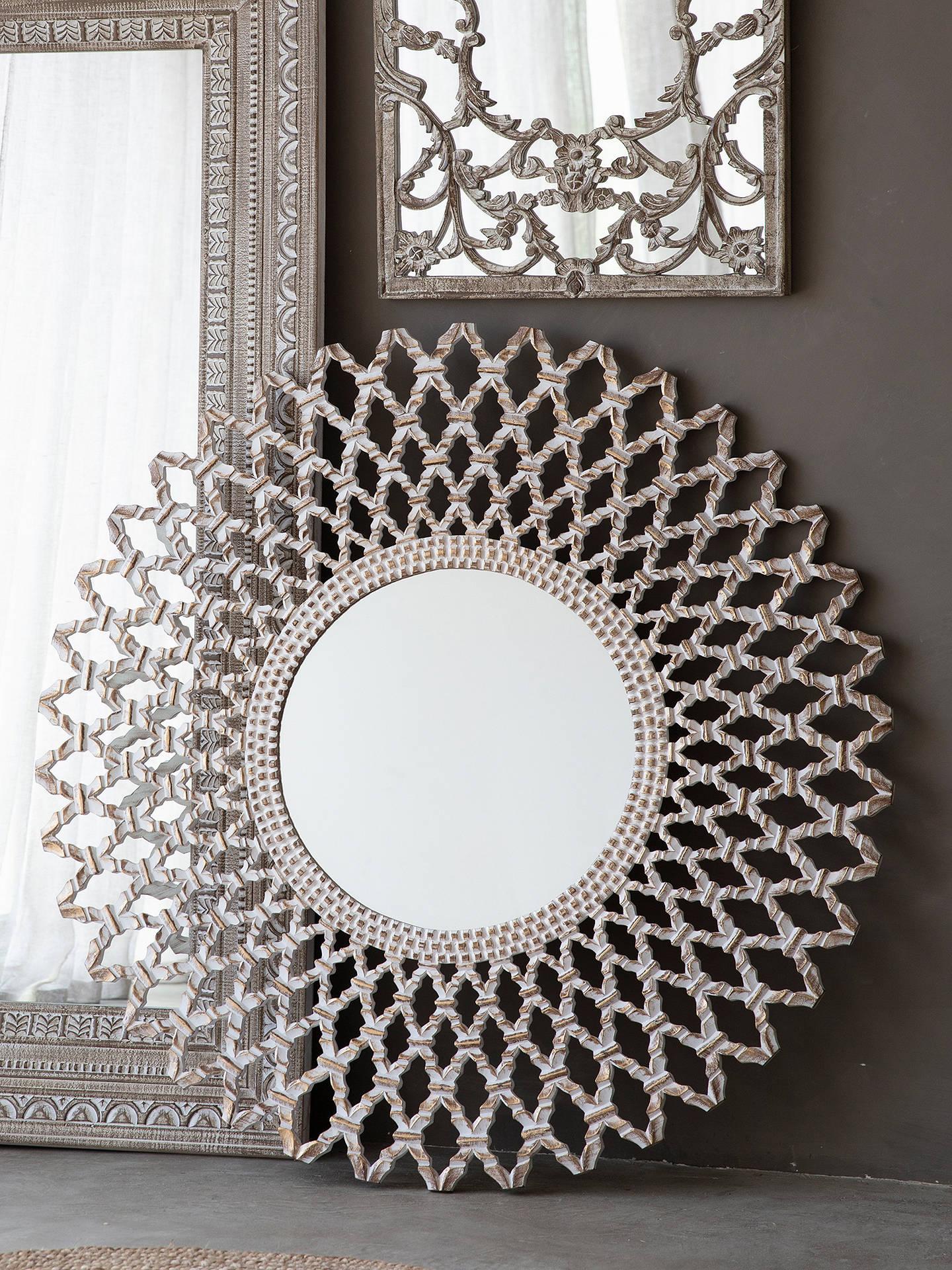 Bharta Large Round Wood Frame Mirror 120cm Silver At John Lewis Partners