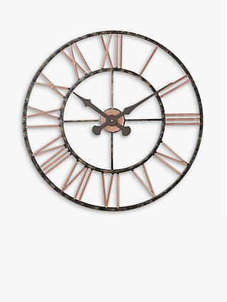 Lascelles Analogue Skeleton Roman Numeral Outdoor Wall Clock, 70cm, Copper