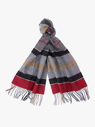Barbour Lambswool Tartan Check Scarf, Grey