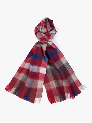 Barbour Nine Square Lambswool Check Scarf, Red