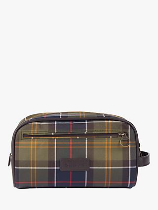 Barbour Tartan Wash Bag, Green/Multi