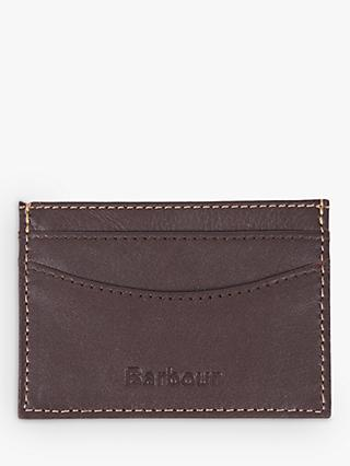 Barbour Elvington Leather Card Holder, Dark Brown