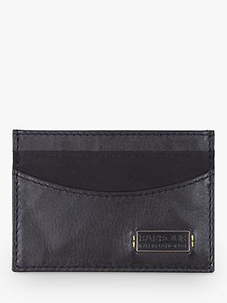 Barbour International Leather and Waxed Cotton Card Holder, Black