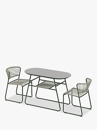 John Lewis & Partners Compact 2-Seater Garden Bistro Table & Chairs Set, Green