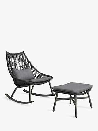 John Lewis & Partners Woven Garden Rocker Chair & Footstool, Black