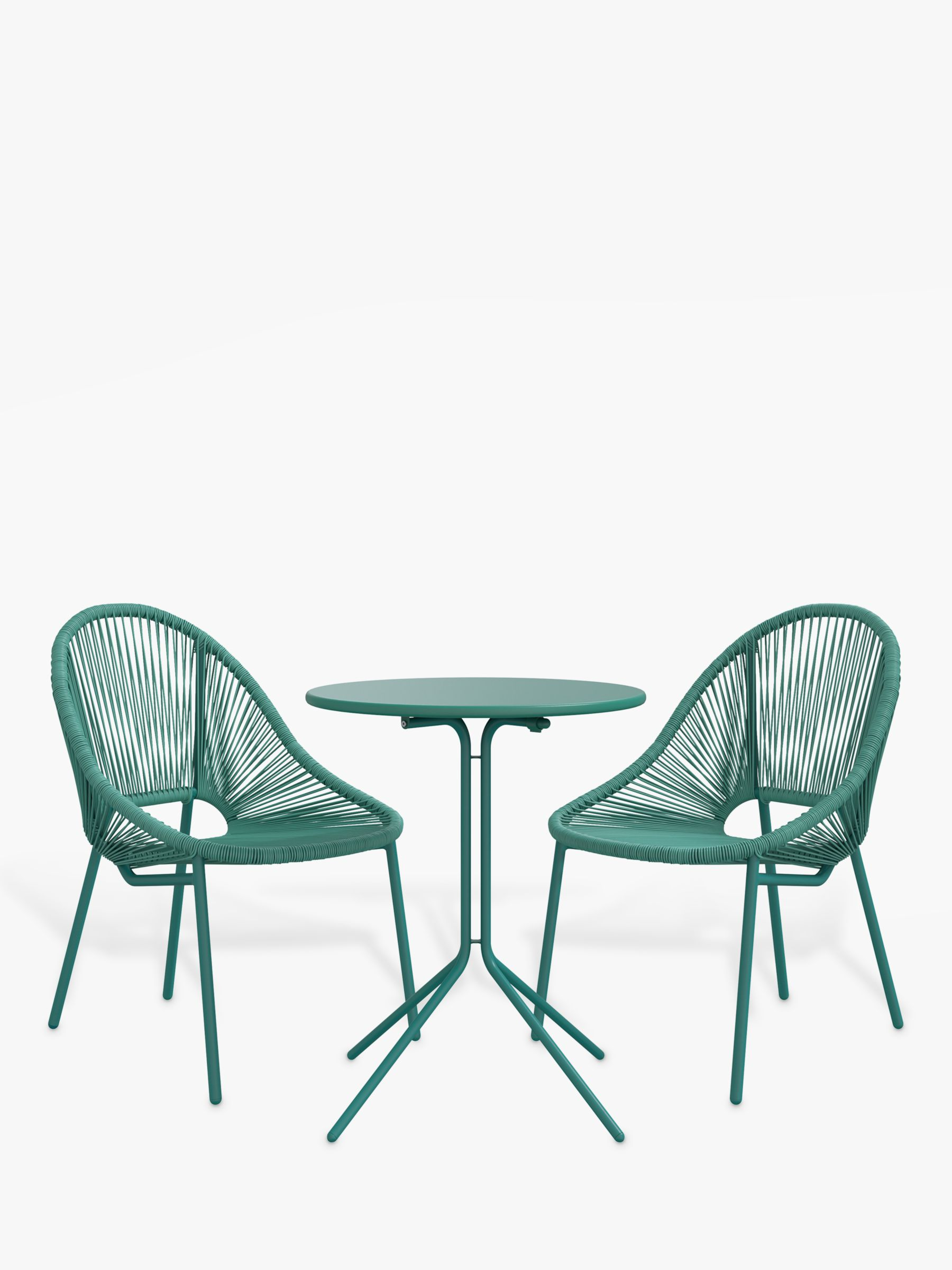 John Lewis & Partners Salsa 2-Seater Round Garden Bistro Table & Chairs Set, Agave