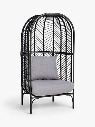 John Lewis & Partners Chevron Garden Chair Pod, Black/Grey