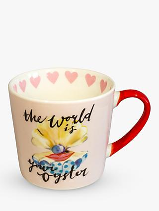 Eleanor Bowmer World Is Your Oyster Hearts Mug, 300ml, Pink/Multi