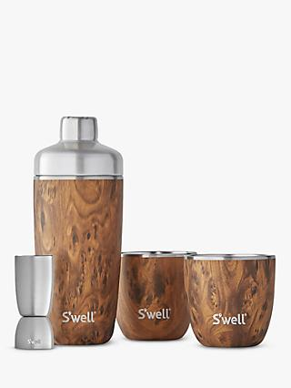 S'well Teakwood Cocktail Shaker and 295ml Tumblers Gift Set, 4 Piece