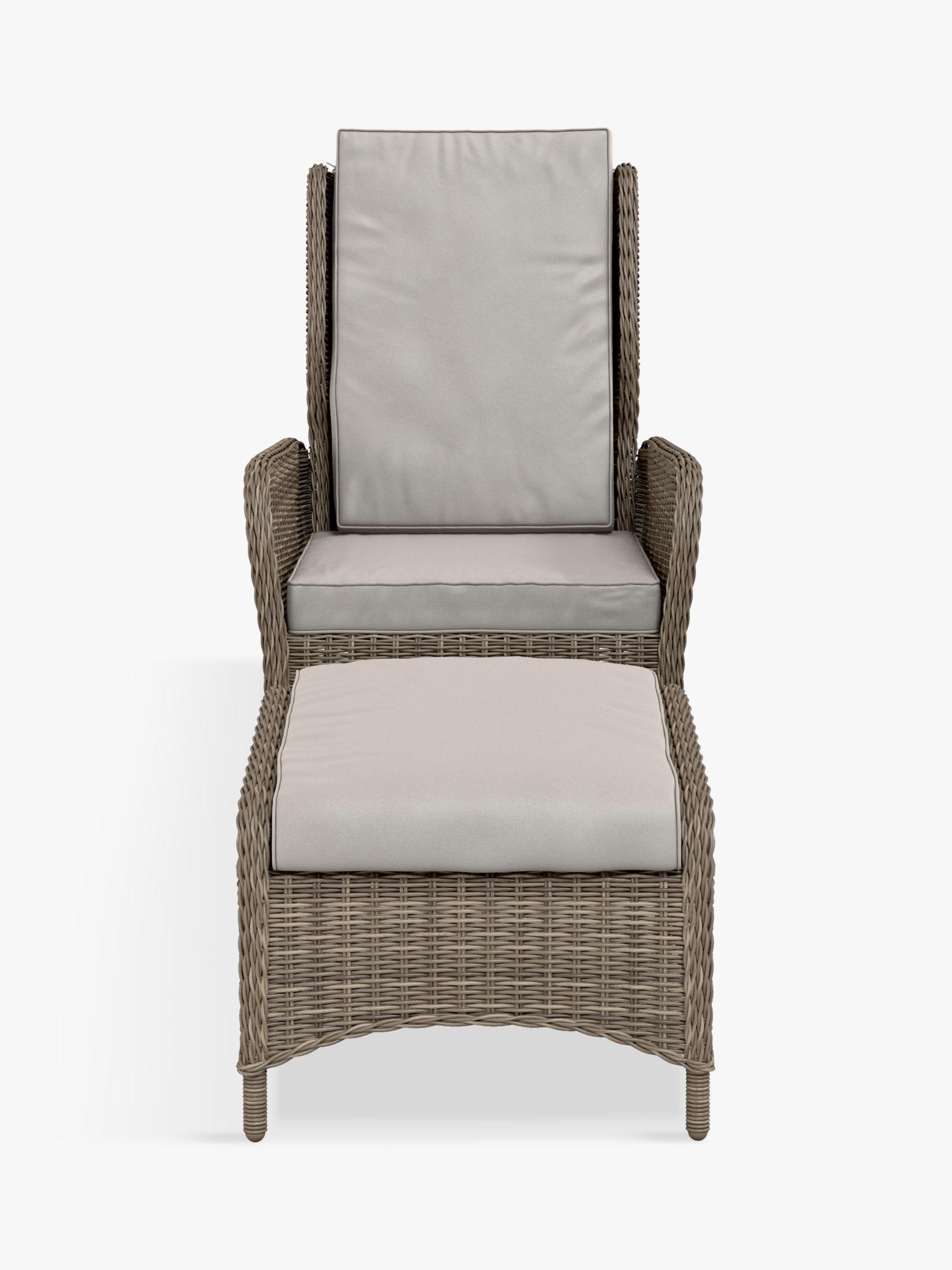 John Lewis & Partners Rye Garden Recliner Chair & Footstool, Set of 2, Natural