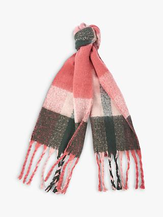 Barbour Bilton Check Long Fringe Scarf, Pink/Sage