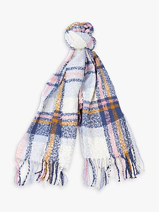 Barbour Tartan Print Boucle Scarf, Cloud/Multi