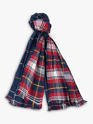 Barbour Brecon Reversible Check Scarf, Navy/Pearl