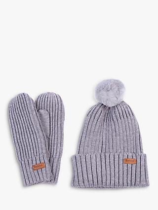 Barbour Whitlaw Ribbed Mittens and Faux Fur Pom Pom Beanie Hat Gift Set, Grey