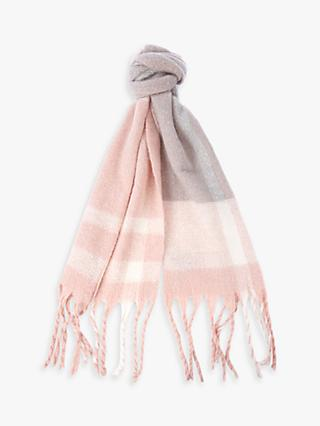 Barbour Isla Tartan Boucle Scarf, Blush/Light Grey