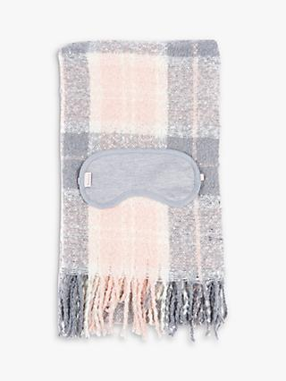 Barbour Tartan Boucle Blanket Scarf and Eye Mask Gift Set, Pink/Grey