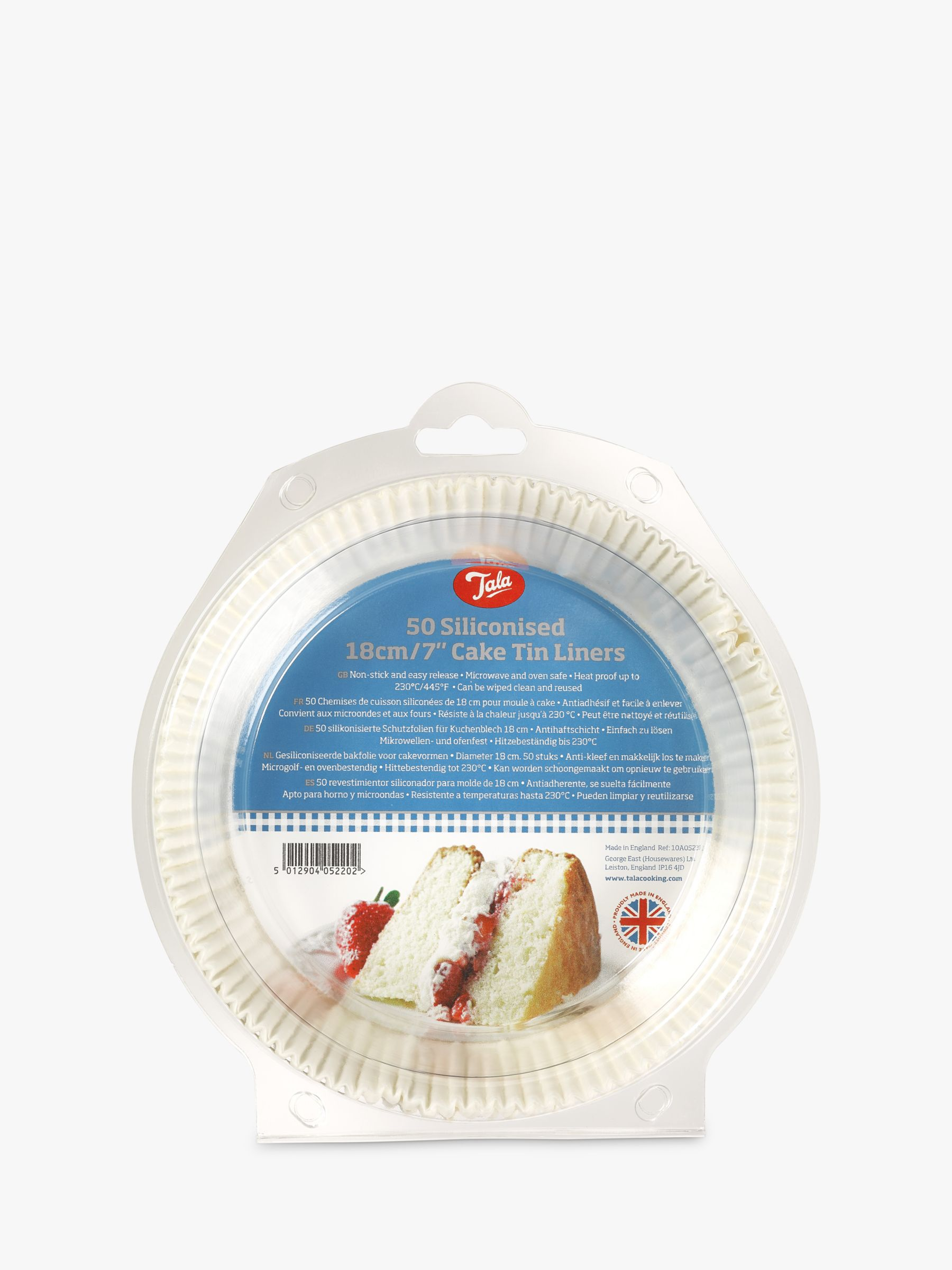 Tala Non-Stick Greaseproof Siliconised Round Cake Tin Liners, Pack of 50, 18cm, White
