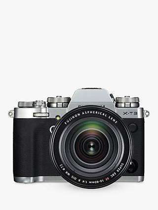 "Fujifilm X-T3 Compact System Camera with XF 16-80mm IS Lens, 4K Ultra HD, 26.1MP, Wi-Fi, OLED EVF, 3"" LCD Touch Screen, Silver"