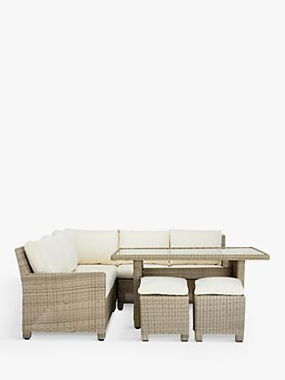 John Lewis & Partners Dante Corner Garden Sofa & Footstools 6-Seat Lounging Set & Glass Top Low Dining Table, Natural