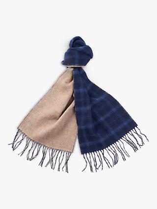 Barbour Fogle Wilderness Wool Tartan Plain Scarf, Natural/Navy