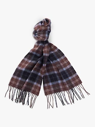 Barbour Fogle Wilderness Wool Tartan Scarf, Brown/Black