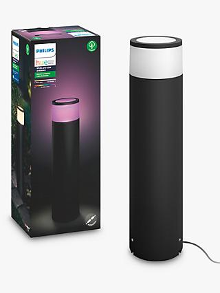 Philips Hue White and Colour Ambiance Calla LED Large Pedestal Outdoor Light Extension, Black